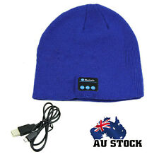Wireless Bluetooth Warm Soft Beanie Hat Smart Headset Headphones Speaker Blue