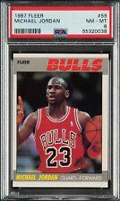 1987 FLEER #59 MICHAEL JORDAN 2ND YR BASKETBALL CARD HALL OF FAME BULLS PSA 8