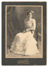 Lovely young woman in white dress - by Schreurs of Ravenswood, Chicago, IL