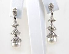 Fine South Sea Pearl & Diamond Dangle Fashion Earrings 14k WhiteGold 8.5mm .50Ct