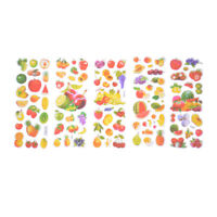 6 Sheets Fruits Scrapbooking Bubble Stickers 3D Cartoon Stationery Stickers .z