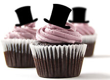 ✿ 24 Edible Rice Paper Cup Cake Toppings, Cake decs - Top Hats  Wedding ✿