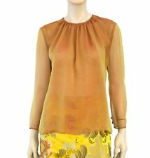 BILL BLASS Long Sleeve Iridescent Burnt Orange Silk Chiffon Blouse Top XL