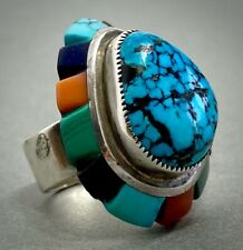 HUGE LOLOMA Style Vintage Navajo Sterling Silver Gem Spiderweb Turquoise Ring