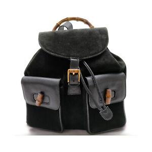 Gucci BackPack Bag  Black Suede Leather 1425021