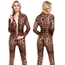 Sexy Leopard Catsuit Overall Bodycon Body Enge Passform Kostüm 2-way zipper