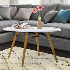 Modern Round Coffee Tea Table White Side End Living Room Storage Unit Wooden