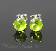 5mm REAL SOLID 925 STERLING SILVER Peridot Green CZ Womens Mens Earrings Studs