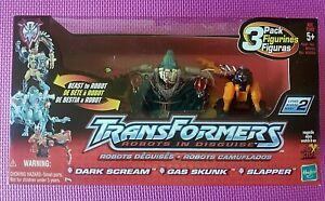 Transformers Robots in Disguise R.I.D. 2001 DARK SCREAM GAS SKUNK SLAPPER 3 Pack