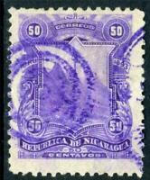 Nicaragua 1892 Seebeck 50¢ Coat of Arms VFU D267 ⭐⭐⭐⭐⭐⭐