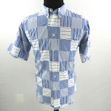 Orvis Patch Work Shirt Mens Medium Blue White Short Sleeve Button Front