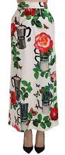 DOLCE & GABBANA Maxi Skirt Floral Print High Waist Coffee Rose IT40/US6/S $900
