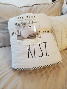 Rae Dunn Ticking Stripe Quilt Set NWT
