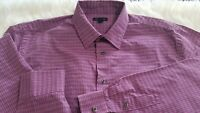 Men Dress Shirt Van Heusen Size Large 16-16 1/2 Long Sleeve Button up Purple I-9