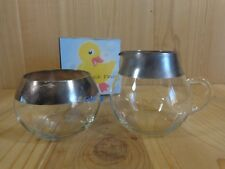 CREAMER AND SUGAR BOWL Set Clear Glass Silver Plated Rims
