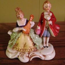 VINTAGE MARUYAMA OCCUPIED JAPAN COLONIAL COUPLE PORCELAIN FIGURINE RED COAT MAN
