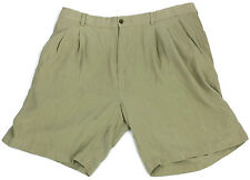 Joseph Feiss Silk Shorts Mens Size 38 Khakis Chinos s Tan Beige Sand Pleated Sz