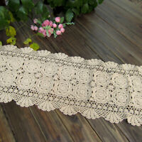 Hand Crochet Table Runner Beige Floral Lace Tablecloth Doily Home Decor 15x35 in