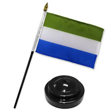 "Sierra Leone 4""x6"" Flag Desk Set Table Stick Black Base"