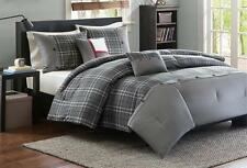 GREY PLAID Twin or Full Queen COMFORTER SET : WHITE SLATE GRAY PIECED STRIPE