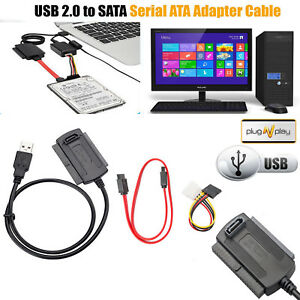 USB 2.0 to SATA/IDE Cable Power Adapter Converter For DVD Hard Disk Drive