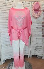 MELROSE Strand Chiffon Tunika Strass pink Sommerponcho Totenkopf Schädel 40 NEU