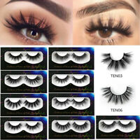 1/3/5 Pairs&False Eyelashes Cross Natural Volume Makeup 3D Mink Lashes Extension