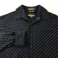 Roar Men's Xl Poplin Douce Shirt Navy Blue Black Striped Embroidered Flip Cuffs
