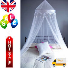 UK White Satin Crown Mosquito Fly Canopy Net Netting For Single Double King Bed