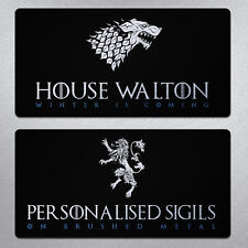 Personalised Game of Thrones inspired Plaque - Metal GoT House Sigil custom sign