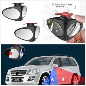 2 Pcs 360° Rotation Adjustable Car Rear View Convex Blind Spot Mirrors Universal