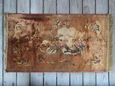"""Antique Chinese Oriental Golden Silk Carpet Rug Pheasant Bird Floral 43""""x25"""""""