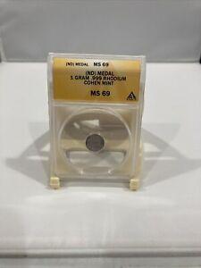 RHODIUM Eagle 1 Gram 99.9% Pure Cohen Mint Coin ANACS MS69