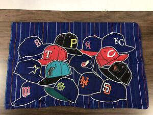 "Vintage 1996 MLB Major League Baseball Pillowcase Blue Fabric 29"" x 18"" Handmade"