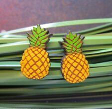 Tiny Pineapple Natural Wood Stud Earrings Nickel Free Post Earrings