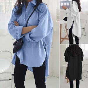 US STOCK Women Fashion Korean Style Shirts Shirt Asym Split Hem Loose Blouse Top