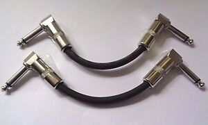 2 x 20 HAND BUILT STUDIO QUALITY RIGHT ANGLE  PATCH LEADS FOR GUITAR