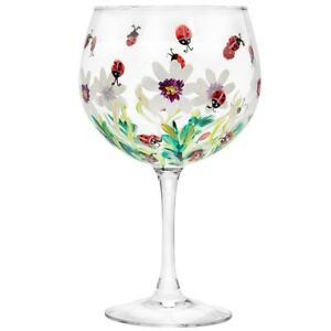 Hand Painted Gin & Tonic Large ladybirds Balloon Glass Boxed LP46700