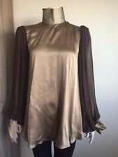 Thomas Wylde Brown Silk Tunic Contrast Slv High Neck Proto Blouse Rocker Chic SM