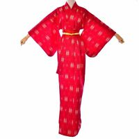 Women's Vintage Red wool Kimono Japanese wool robe Vintage Long Red Dress