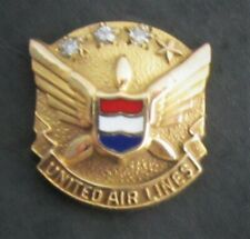 United Airlines 10k Gold 3 Diamond Employee 20 Yr Service Pin Insignia