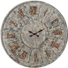 "Antiqued LARGE Metal Tin Clock D39"" - 31383"