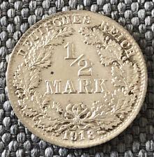 Germany 1918 D 1/2 Mark Silver Very Nice Coin. LJ