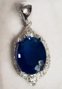 14K White Gold  Real Diamonds  Halo Natural 2.60CT Sapphire Blue Kyanite Pendant