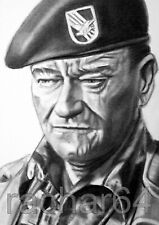 1/1 print ACEO sketch card THE GREEN BERETS John Wayne COL. MIKE KIRBY