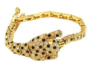 Attwood & sawyer panther bracelet Gold Plated w Clear & Black Rhinestones NEW