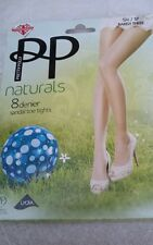Pretty Polly Naturals 8 Denier Sandal Toe Tights - Size SM Barely There