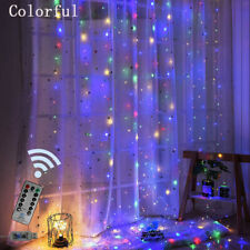 300 LED USB Curtain Fairy String Colourful Lights Hanging 3M+Remote Multicolour