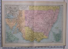 1891 ANTIQUE MAP ~ NEW SOUTH WALES VICTORIA ~ PLAN OF MELBOURNE TASMANIA