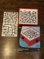 Brio 2006 Wood Labyrinth Game 3 Maze Boards 34000 Steel Ball Red EUC